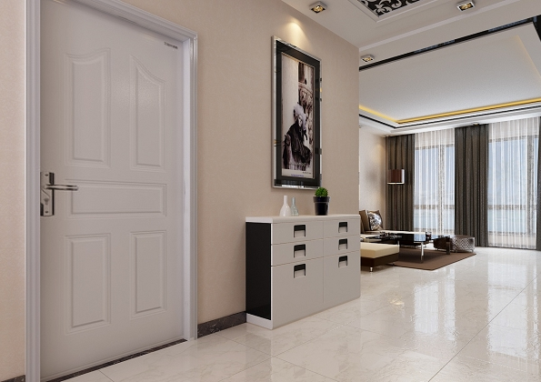 现代风格三居进门玄关装修效果图   110平米现代公寓进门